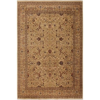 Antique Vegtable Dye Tabriz Aida Ivory/Ivory Wool Rug (9'0 x 11'6) - 9 ft. 0 in. x 11 ft. 6 in.
