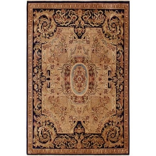 Antique Vegtable Dye Angola Evelina Tan/Blue Wool Rug (8'2 x 9'11) - 8 ft. 2 in. x 9 ft. 11 in.