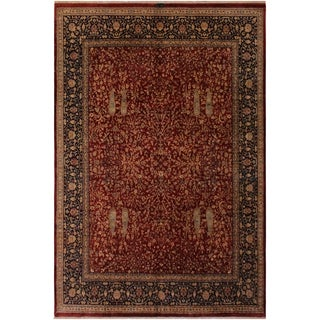 Antique Vegtable Dye Kashan Laticia Red/Blue Wool Rug (8'2 x 10'0) - 8 ft. 2 in. x 10 ft. 0 in.