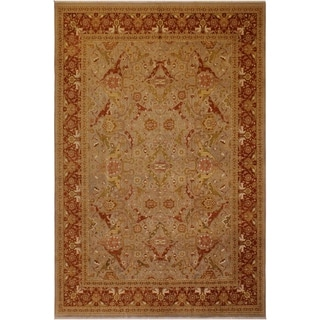 Antique Vegtable Dye Shama Tawanna Lt. Gray/Rust Wool Rug (10'3 x 12'11) - 10 ft. 3 in. x 12 ft. 11 in.