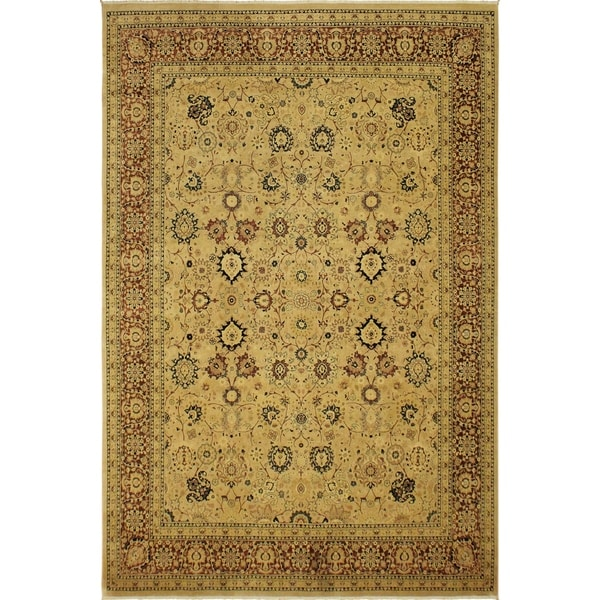 Antique Vegtable Dye Tabriz Goldie Tan/Aubergine Wool Rug (9'0 x 12'0) - 9 ft. 0 in. x 12 ft. 0 in.