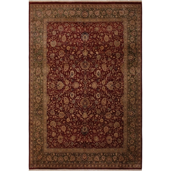 Antique Vegtable Dye Tabriz Latisha Red/Green Wool Rug (7'11 x 10'1) - 7 ft. 11 in. x 10 ft. 1 in.
