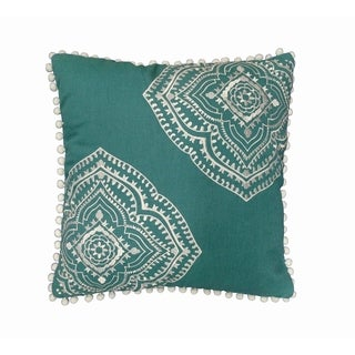Valencia Green Embroidered Decorative Throw Pillow