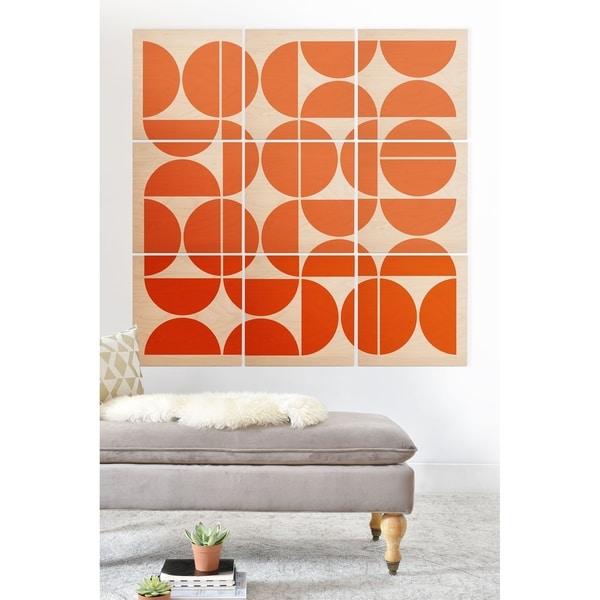 Deny Designs Mid Century Modern Orange Wood Wall Mural-9 Squares