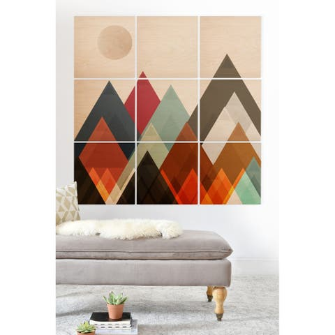 Deny Designs Geometric Mountains Wood Wall Mural- 9 Squares - Brown