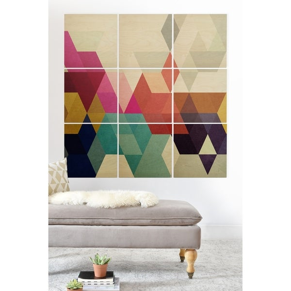 Deny Designs Modele 7 Geometric Wood Wall Mural- 9 Squares - Blue/Pink/Multi-color
