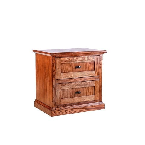Mission Oak Two Drawer Nightstand 25W x 24H x 18D