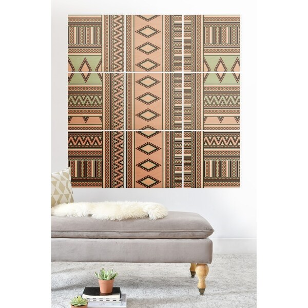 Deny Designs Geometric Shapes Wood Wall Mural- 9 Squares - Green/Pink/White