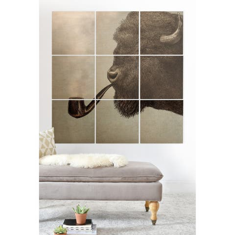 Deny Designs Buffalo Pipe Smoke Wood Wall Mural- 9 Squares