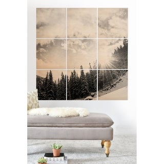 Deny Designs White Mountain Wood Wall Mural- 9 Squares - Black/Grey