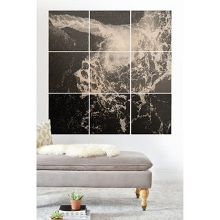Deny Designs Ocean Swell Wood Wall Mural- 9 Squares - Black/White