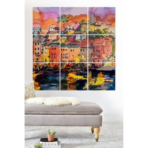 Deny Designs Italian City on the River Wood Wall Mural- 9 Squares - Multi-color