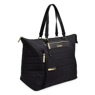 TAHARI NEW YORK Chelsea Quilt Collection Convertible Yoga Tote Great for Gym & Everyday Fashion-Black
