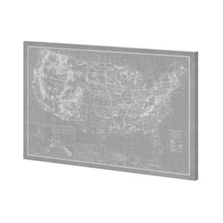 Mercana Explorer - USA Map - Graphite (52 x 39) Made to Order Canvas Art