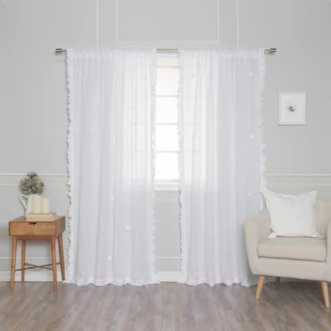 Aurora Home Sheer Side Ruffle French Linen Single Curtain Panel