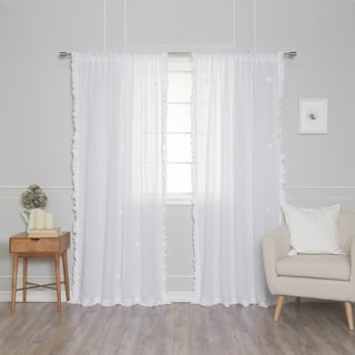 Link to Aurora Home Sheer Side Ruffle French Linen Single Curtain Panel Similar Items in Window Treatments