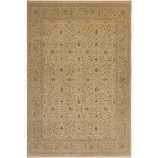 Antique Vegtable Dye Taj Susana Lt. Tan/Lt. Green Wool Rug (9'1 x 11'11) - 9 ft. 1 in. x 11 ft. 11 in.