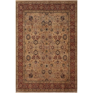 Antique Vegtable Dye Tabriz Kristen Tan/Red Wool Rug (8'1 x 10'1) - 8 ft. 1 in. x 10 ft. 1 in.