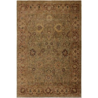 Antique Vegtable Dye Anmol Agra Esperanz Lt. Green/Tan Wool Rug (8'10 x 12'7) - 8 ft. 10 in. x 12 ft. 7 in.