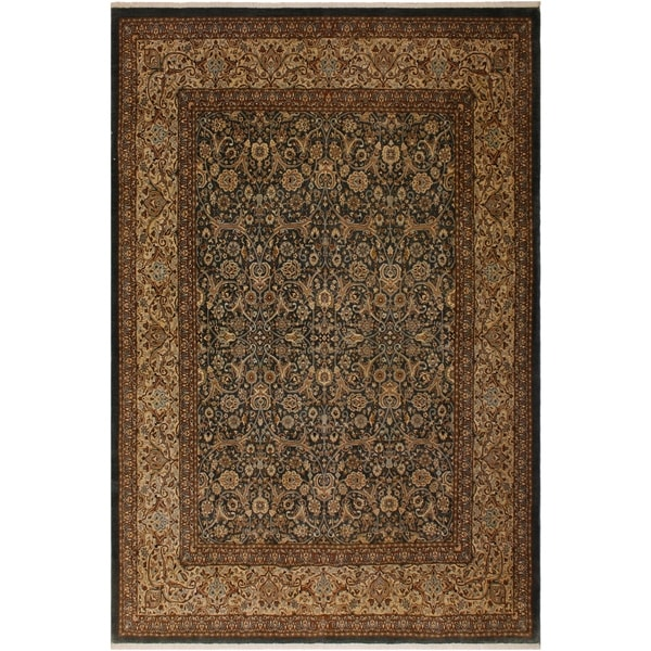 Istanbul Minnie Green/Tan Wool Rug (8'3 x 10'6) - 8 ft. 3 in. x 10 ft. 6 in.