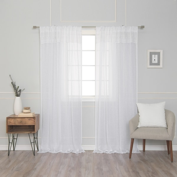 Aurora Home Decorative Top Border French Linen Rod Pocket Curtain 1pc. Opens flyout.