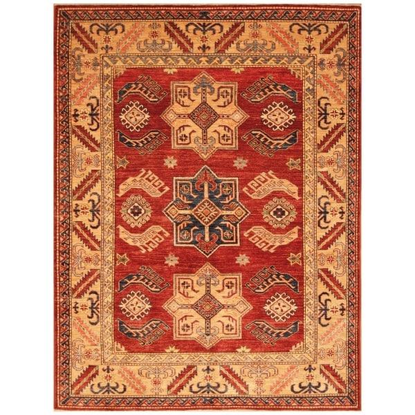 Handmade Super Kazak Wool Rug (Afghanistan) - 4'2 x 6'