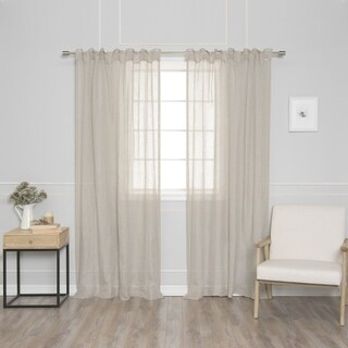 Aurora Home French Linen Back Tab Curtain Single Curtain Panel
