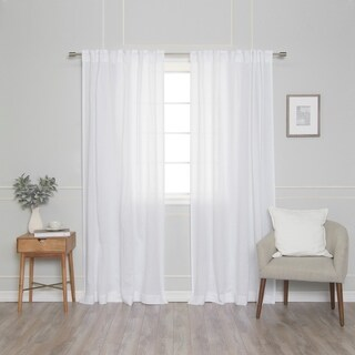 Aurora Home French Linen Back Tab Single Curtain Panel