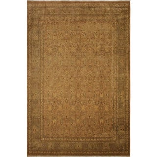 Antique Vegtable Dye  Rema Lt. Brown/Lt. Green Wool Rug (9'2 x 12'6) - 9 ft. 2 in. x 12 ft. 6 in.