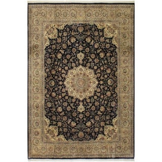 Nahin Pak-Persian Isidra Blue/Tan Wool Rug (9'3 x 12'0) - 9 ft. 3 in. x 12 ft. 0 in.