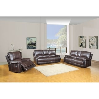 Faux Leather Air/Match Upholstered 3-Piece Living Room Console Recliner Sets