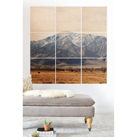 Deny Designs Mountain Valley Wood Wall Mural- 9 Squares - Brown