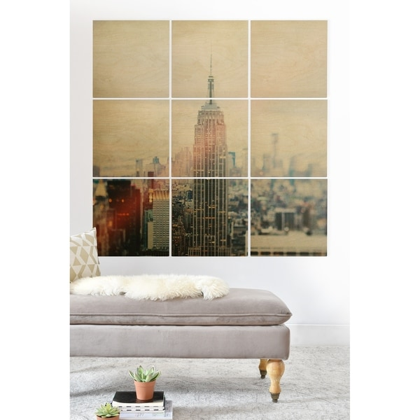 Deny Designs New York Skyscraper Wood Wall Mural- 9 Squares - Grey/Multi-color