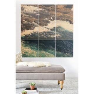Deny Designs Ocean Coast Wood Wall Mural- 9 Squares - Blue/Brown/White