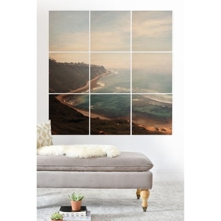 Deny Designs California Coast Wood Wall Mural- 9 Squares - Blue/Multi-color/White