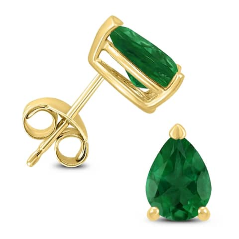 14K Yellow Gold 6x4MM Pear Emerald Earrings