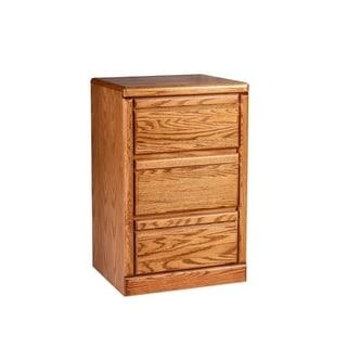Bullnose Oak Three Drawer Nightstand 19W x 30H x 18D