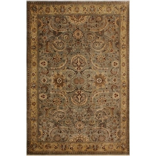 Istanbul Julianne Lt. Green/Gold Wool Rug (8'9 x 11'1) - 8 ft. 9 in. x 11 ft. 1 in.