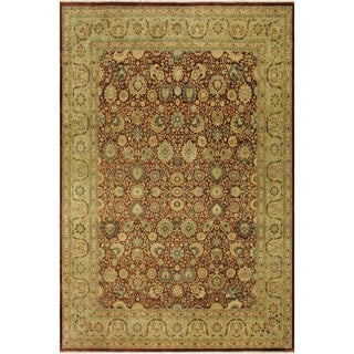 Antique Vegtable Dye Tabriz Rosetta Aubergine/Lt. Green Wool Rug (9'1 x 11'8) - 9 ft. 1 in. x 11 ft. 8 in.