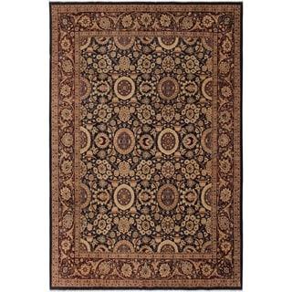 Antique Vegtable Dye Agra Tabriz Maragret Blue/Dark Brown Wool Rug (8'0 x 9'9) - 8 ft. 0 in. x 9 ft. 9 in.
