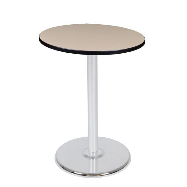 Beige//Chrome Regency Via Round Caf/é High Platter Base Table 30