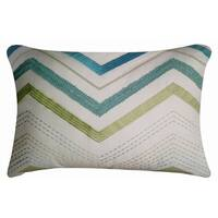 Valencia White, Aqua and blue Embroidered Decorative Throw Pillow