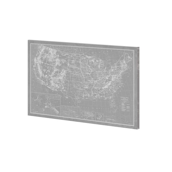 Mercana Explorer - USA Map - Graphite (36 x 27) Made to Order Canvas Art