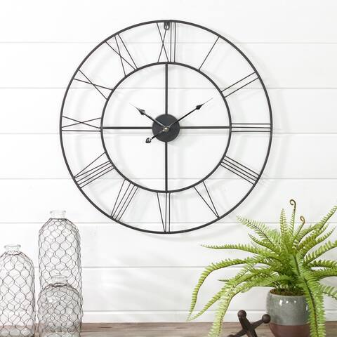 "Alpin Round Metal Wall Clock - 24""H x 24""W x 0.5""D"