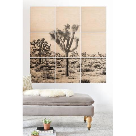 Deny Designs Joshua Trees Wood Wall Mural- 9 Squares - Grey/Brown