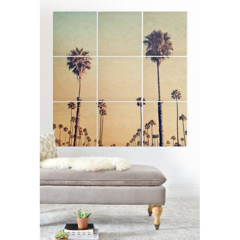 Deny Designs California Palm Trees Wood Wall Mural- 9 Squares - Blue/Brown