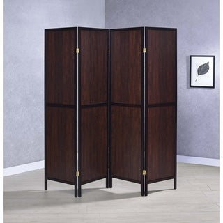 "Strick & Bolton Grammer Tobacco and Cappuccino 4-panel Folding Screen - 69.50"" x 0.75"" x 70.25"""