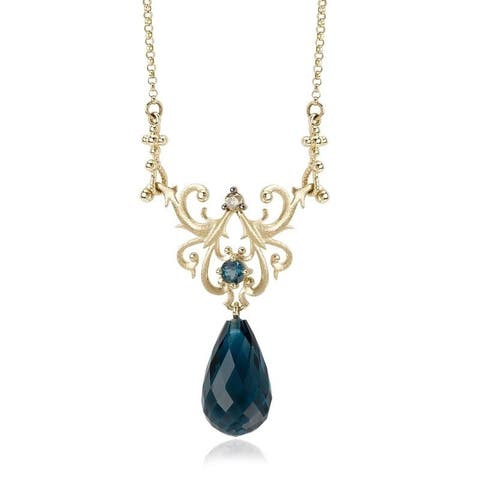 Avanti Yellow Plated Sterling Silver Blue Topaz and Brown CZ Necklace