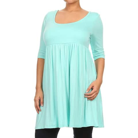 Women's Basic Pleated Solid Color Loose Tunic Top