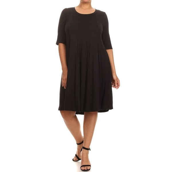 Women's Casual Lightweight Solid Pleated Dress